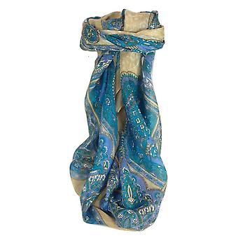 Mulberry Silk Traditional Square Scarf Patia Aquamarine by Pashmina & Silk