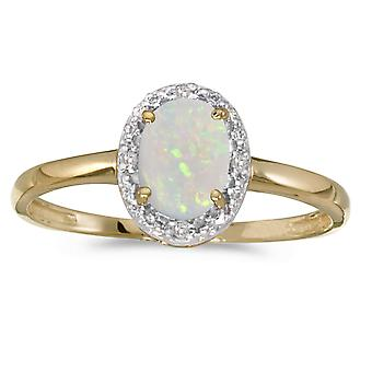 10k gult gull ovale Opal og Diamond Ring