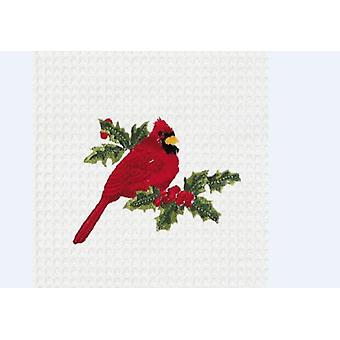 Red Cardinal Backyard Bird Watcher Cotton Kitchen Towel