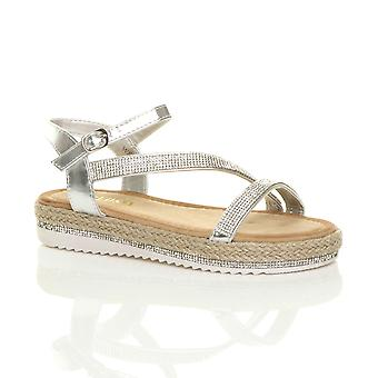 Ajvani womens low wedge platform diamante strappy sandals flatform espadrilles