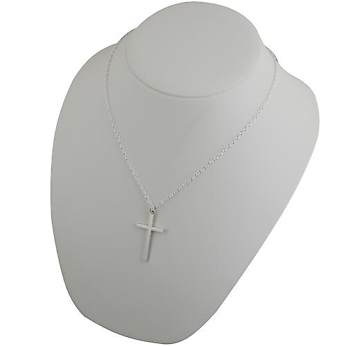 Silver 40x24mm plain solid block Cross with a cable Chain 20 inches
