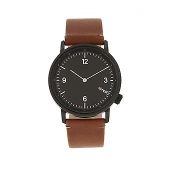 Simplify The 5500 Leather-Band Watch - Black/Brown