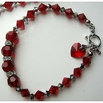 Elegant Heart Dangling Bracelet w/ Genuine Swarovski Red Siam Crystal & Toggle Clasp