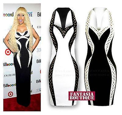 Ladies Celeb Black White Slim Effect Gold Studded Stretch Bodycon Women's Dress
