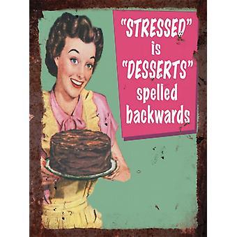 Vintage Metal Wall Sign - Stressed