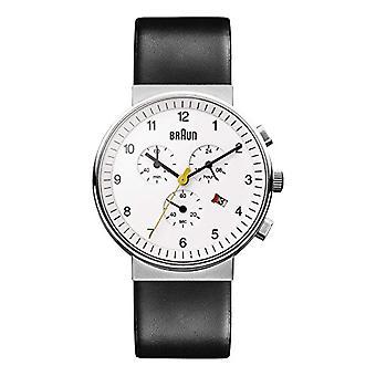 Braun Mens kvarts Chronograph Watch med skinn stropp BN0035WHBKG
