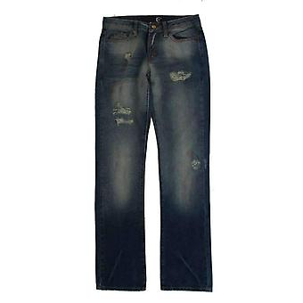 Cavalli Blue Wash Torn Cotton Slim Fit Jeans -- SIG1114629