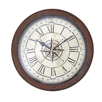 Vintage Brown Rust Metal Frame Compass Rose Wall Clock