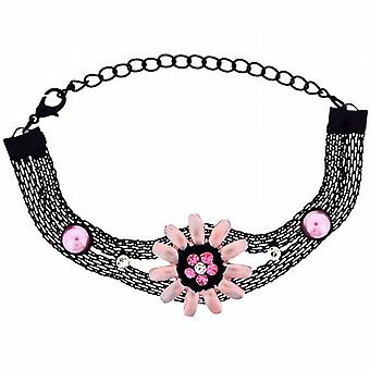 The Olivia Collection Girls - Ladies Black Mesh Bracelet with Pink Flowers FJ209