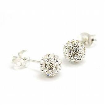 Toc Sterling Silver 6mm Clear Crystal Disco Ball Stud Earrings
