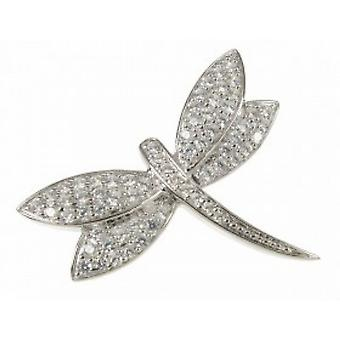 Cavendish French Sterling Silver and CZ Dragonfly Brooch