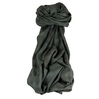 Cashmere Srinagar Muffler Scarf Medium Check Charcoal by Pashmina & Silk