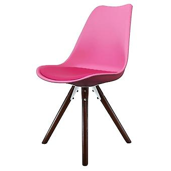 Fusion Living Eiffel Inspired Bright Pink Plastic Dining Chair With Pyramid Dark Wood Legs