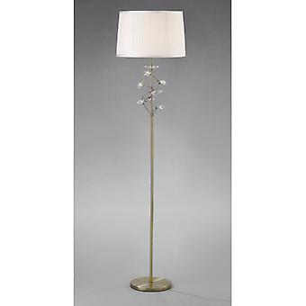 Willow Floor Lamp With White Shade 1 Light Antique Brass/crystal