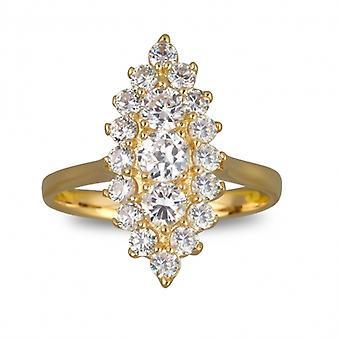 Marquise guldpläterad ring med zirkonium kubik
