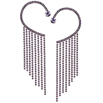 Evige samling Diva Amethyst Crystal Diamante sølv Tone manchet øreringe