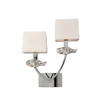 Mantra Akira Wall Lamp Switched 2 Light E14, Polished Chrome With Cream Shades