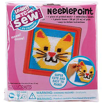 Cat Learn To Sew Needlepoint Kit 6