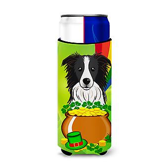 Border Collie St. Patrick's Day Michelob Ultra Koozies for slim cans BB1985MUK