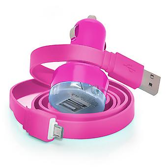 alcatel Pop 3 (5) In Car Dual Port 2.1 Amp Bullet USB Charger + Micro USB Data Sync Cable (Hot Pink)