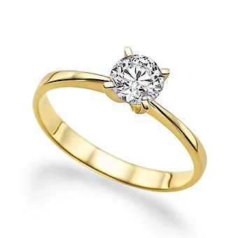 Vakre 0,50 ct hvit safir Ring gult gull 14K