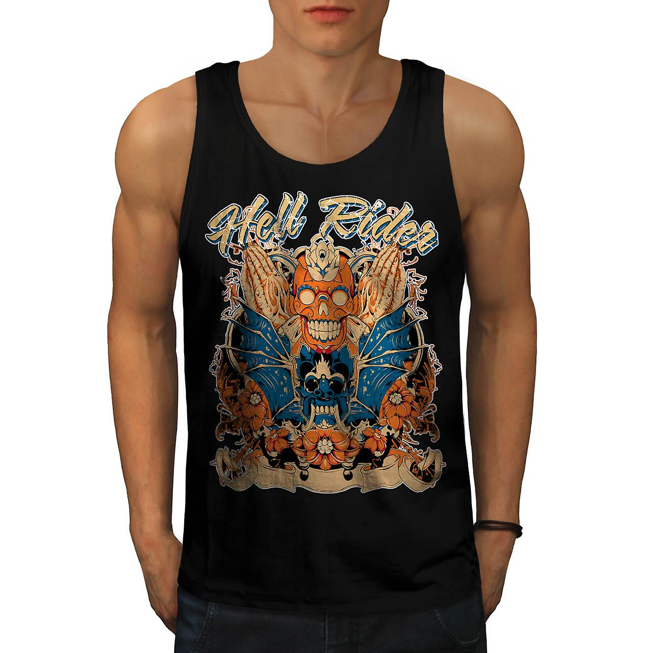 Hell Rider Samurai Warrior Mask Men Black Tank Top | Wellcoda
