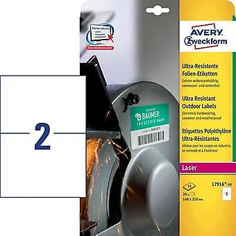 Avery-Zweckform L7916-10 Labels (A4) 210 x 148 mm PE film White 20 pc(s) Permanent All-purpose labels Laser, Copier