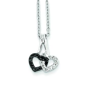 Sterling Silver Rhodium-plated Lobster Claw Closure Diamond Pendant - .13 dwt