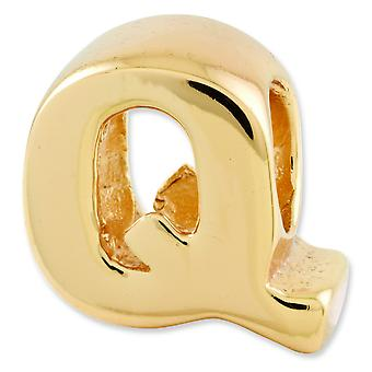 Sterling Silver Gold-plated Reflections Letter Q Bead Charm