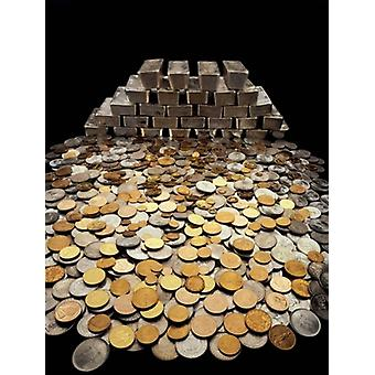 Stack of sliver ingots and pile of coins Poster Print by Panoramic Images (24 x 36)