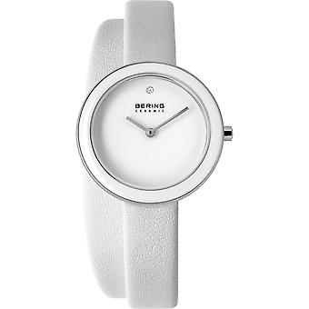 Bering ladies slim ceramic - 33128-854 leather wristwatch watch
