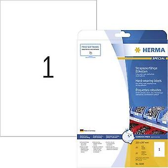 Herma 4698 Labels (A4) 210 x 297 mm Polyester film White 25 pc(s) Permanent All-purpose labels, Weatherproof labels Lase