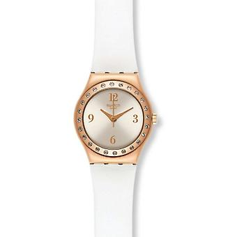 Swatch YSG133 La Rose Douce White gold Leather crystal Women Watch NEW