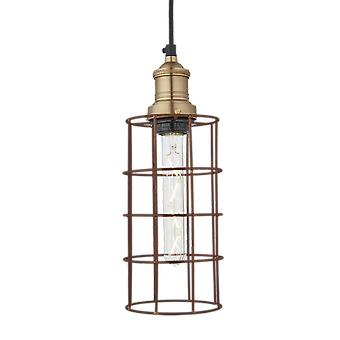 Simple Vintage Rusty Cage Wire Pendant Light - Cylinder - 5