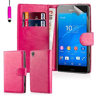 Book Wallet PU Leather Case Cover for Sony Xperia Z3 including screen protector & stylus - Hot Pink
