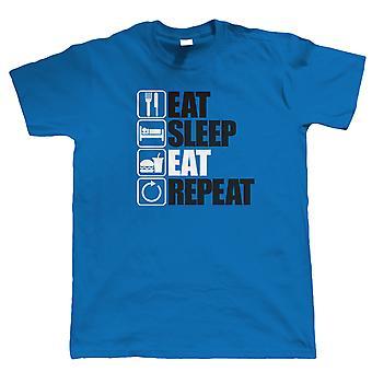 Spis Sleep spise gentagelse, Herre sjov mad kærlig grådige T Shirt