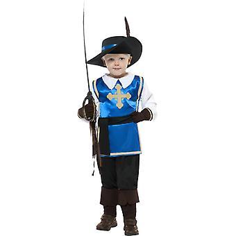 Musketér barn kostyme topp bukser luen og vantene størrelse L