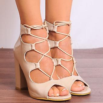 Shoe Closet Lace Up Heels - Ladies Db59 Nude Patent Lace Ups Peep Toes Strappy Sandals High Heels