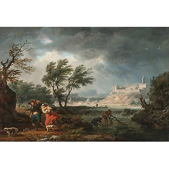 Claude Joseph Vernet - The four times of day 'Midday' Poster Print Giclee