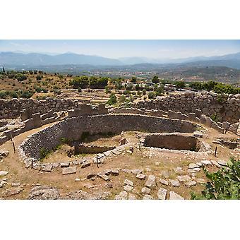 Mycènes Argolide Péloponnèse Grèce tombe encercler un datant du XVIe siècle avant J.-C. dans l'enceinte de la Citadelle de la ville lorsque Heinrich Schliemann excavés du cercle en 1876, il a trouvé 6 arbre tombes whi