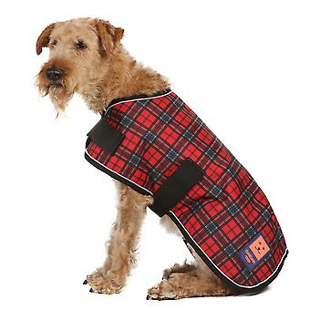 Ginger Ted Shower Waterproof Dog Coat Red Tartan with Warm Fleece Lining (All Sizes)