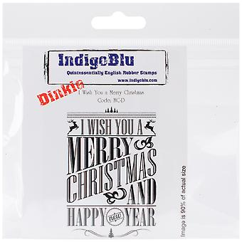 Indigoblu s'accrochent monté timbre 3 « X 3 » I Wish You A Merry Christmas Dinkie Mcd