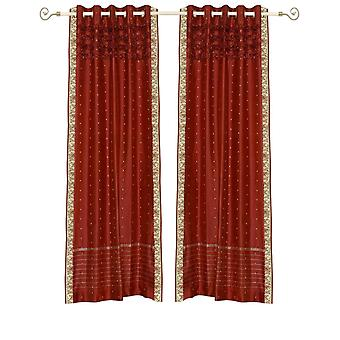 Rust Hand Crafted Grommet Top Sheer Sari Curtain Panel -Piece