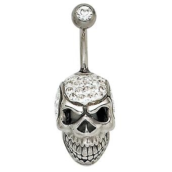 Belly button piercing skull stainless steel with Crystal navel piercing element