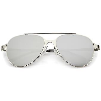 Kolor ultra gładki prosto metalowa poprzeczka dublowane płaskie soczewki okulary przeciwsłoneczne Aviator 56mm