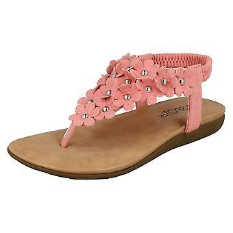 Girls Spot On Flat Flower Trim Toepost Sandals H0248