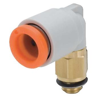 SMC Pneumatic Elbow Threaded-To-Tube Adapter, M6 X 1 Male, Push In 6 Mm