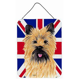 Cairn Terrier with English Union Jack British Flag Wall or Door Hanging Prints
