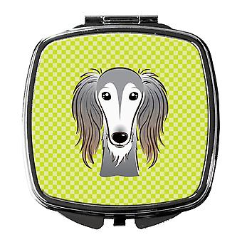 Carolines Treasures  BB1291SCM Checkerboard Lime Green Saluki Compact Mirror