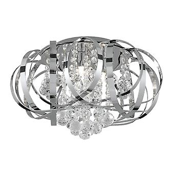 Tilly Chrome And Crystal Glass Three Light Flush Fitting - Searchlight 5973-3cc